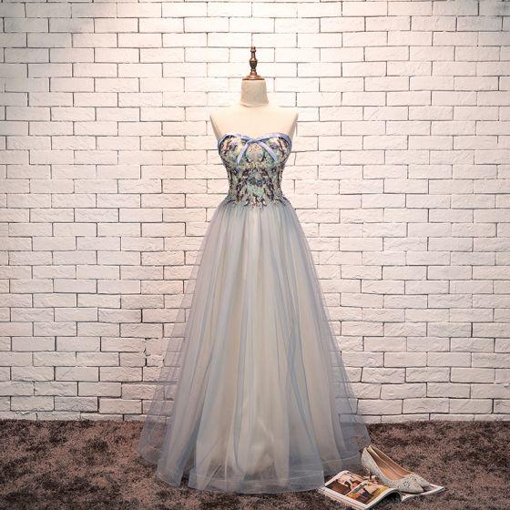 Uroczy Błękitne Sukienki Wieczorowe 2019 Princessa Kochanie Kokarda Perła Z Koronki Kwiat Bez Rękawów Bez Pleców Długie Sukienki Wizytowe