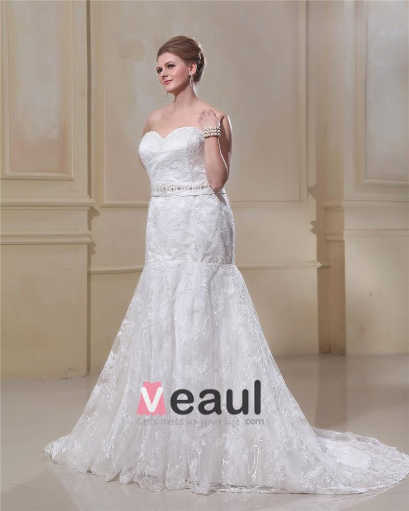 Trumpet Strapless Sweep Satin Lace Plus Size Wedding Dress