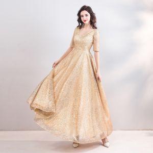 Glitzernden Bling Bling Gold Lange Abendkleider 2018 A Linie V-Ausschnitt Tülle Rückenfreies Perlenstickerei Pailletten Abend Festliche Kleider