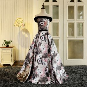 Blomsterfe Multi-Farger Lange Selskapskjoler 2018 Printing Charmeuse Prinsesse Ryggløse Strapless Aften Ballkjoler