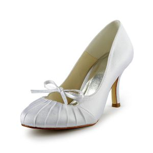 Classic White Bridal Wedding Shoes Mid Heel Pumps With Bow