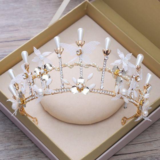 Hada de las flores Oro Metal Tiara 2018 Perla Rhinestone Accesorios
