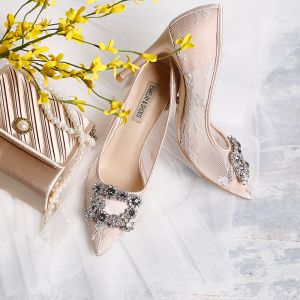 Chic / Beautiful Beige 9 cm Wedding Shoes 2019 Lace Tulle Beading Crystal Rhinestone High Heels Pointed Toe Womens Shoes