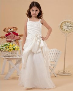 Satin Tulle Ruffle Spaghetti Strap Ankle Length Flower Girl Dresses