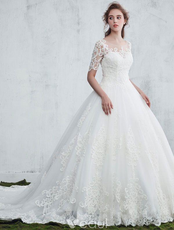 Elegant Wedding Dresses 2017 Scoop Neckline Applique Water Soluble Lace Bridal Gowns