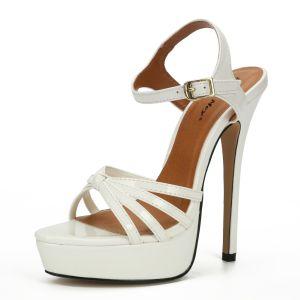 Sexy Hvit Gateklær Sandaler Dame 2020 Ankelstropp 16 cm Stiletthæler Peep Toe Sandaler