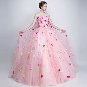 Mooie / Prachtige Bloemenfee Candy Roze Galajurken 2019 A lijn Strapless Appliques Mouwloos Ruglooze Strik Lange Gelegenheid Jurken