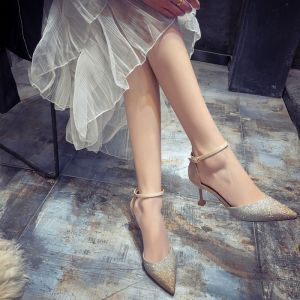 Chic / Beautiful Champagne Evening Party Womens Shoes 2020 Ankle Strap 6 cm Stiletto Heels Pointed Toe Heels