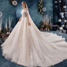 Chic / Beautiful Champagne Wedding Dresses 2019 A-Line / Princess Off-The-Shoulder Beading Sequins Lace Flower Short Sleeve Backless Royal Train