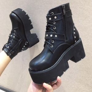 Chic / Beautiful Black Casual Winter Womens Boots 2020 8 cm / 3 inch Platform Round Toe Boots