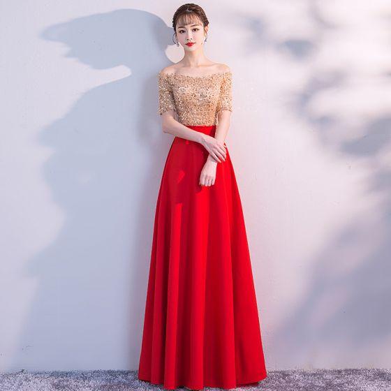 aad4d38357063 Elegante Rot Abendkleider 2019 A Linie Off Shoulder Pailletten Spitze  Quaste Kurze Ärmel Rückenfreies Lange Festliche Kleider