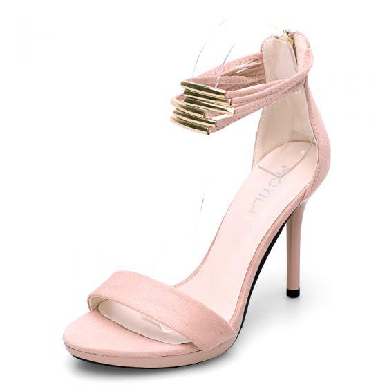 Hermoso Fiesta Zapatos De Mujer 2017 PU Correa Del Tobillo High Heel Peep Toe Tacones
