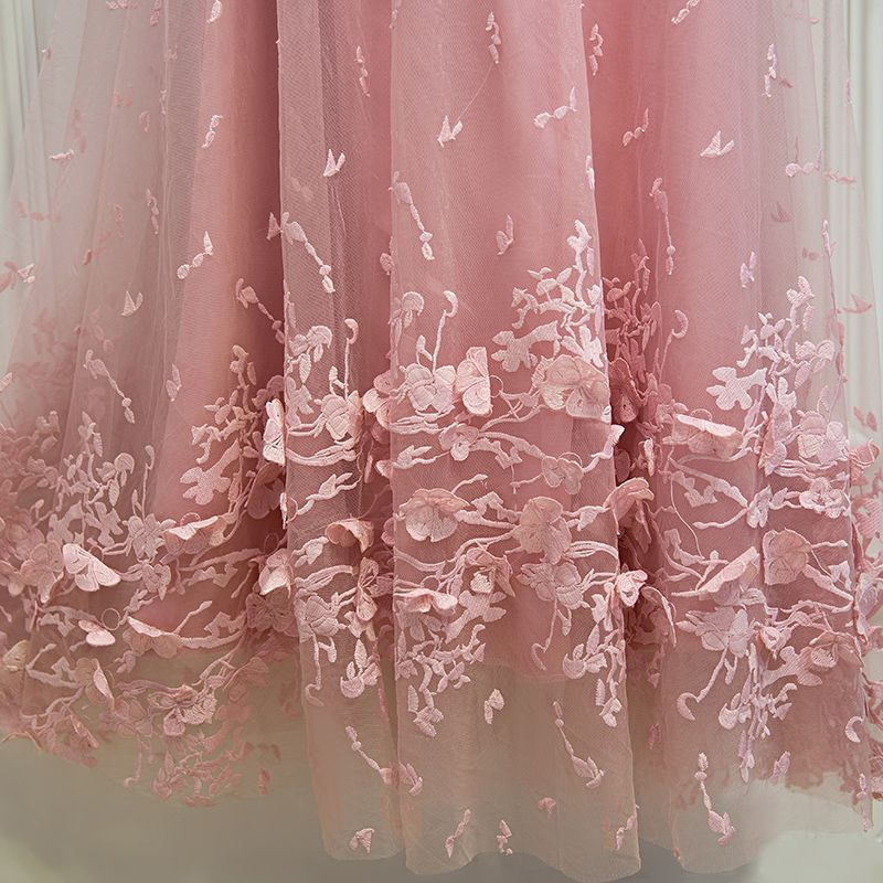Lovely Candy Pink Formal Dresses 2017 Lace Flower Strappy Scoop Neck 1/2 Sleeves Tea-length A-Line / Princess Prom Dresses