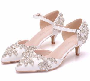 Charming White Prom Womens Shoes 2018 Buckle Rhinestone 5 cm Stiletto Heels Pointed Toe High Heels
