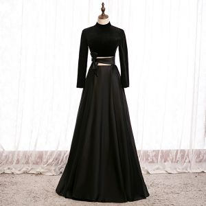 Elegante Zwarte Galajurken 2020 A lijn Suede Hoge Kraag Strik Lange Mouwen Ruglooze Lange Gelegenheid Jurken