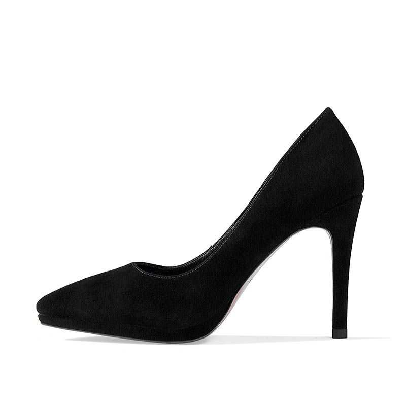 Chic / Beautiful Black Office Pumps 2017 Leather Suede High Heel Pointed Toe Pumps