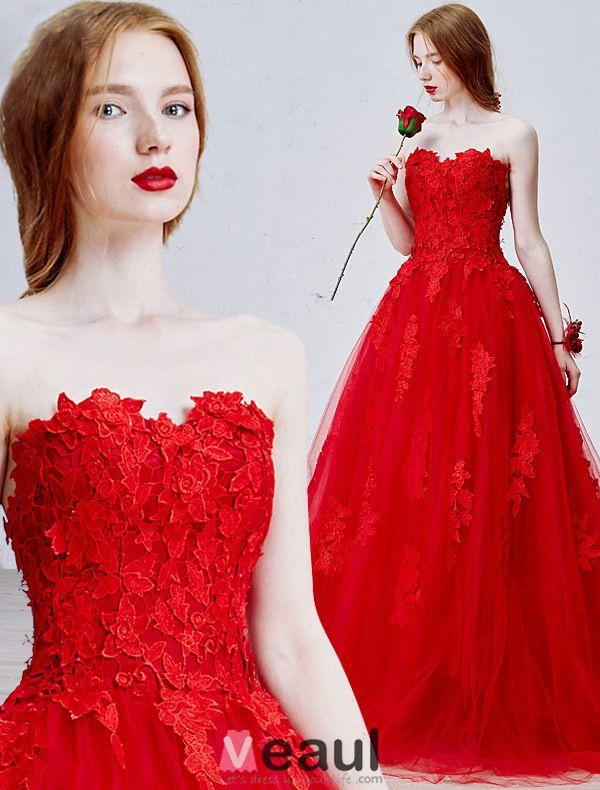 2016 Schöne Trägerlosen Herz Applique Dicke Spitze Rotem Tüll Brautkleid Hochzeitskleid Mit Sweep Zug