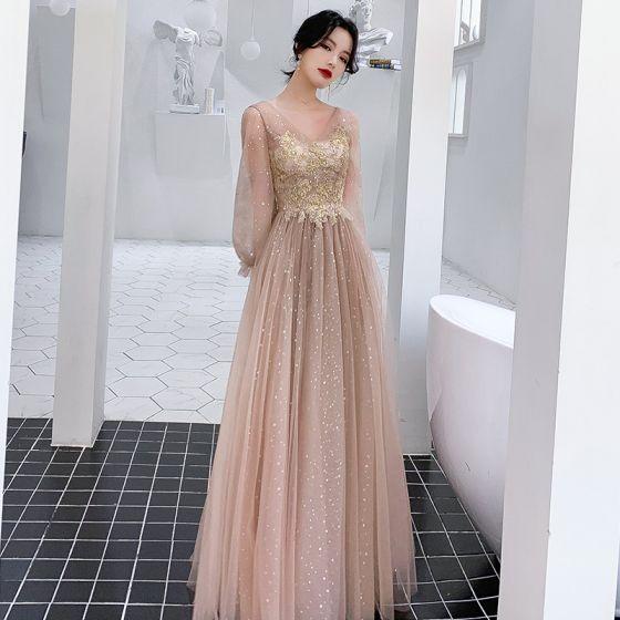 Viktoriansk Stil Champagne Aftonklänningar 2020 Prinsessa V-Hals Pösigt Långärmad Stjärna Paljetter Appliqués Beading Långa Ruffle Halterneck Formella Klänningar