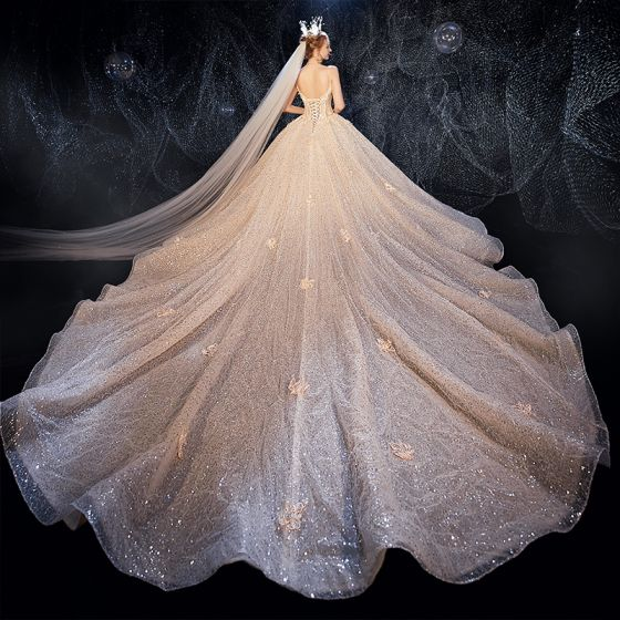 Elegant Champagne Wedding Dresses 2020 Ball Gown Flower Spaghetti Straps Deep V-Neck Sleeveless Backless Glitter Tulle Appliques Lace Sequins Beading Cathedral Train Ruffle