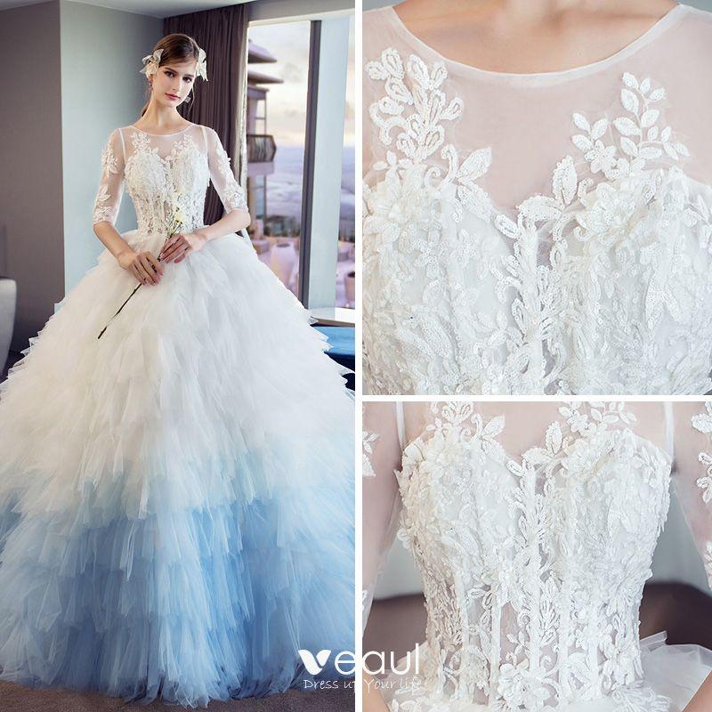Unique Wedding Dresses With Color: Amazing / Unique White Gradient-Color Sky Blue Pierced