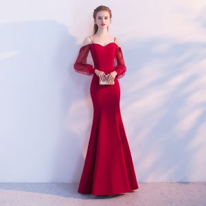 Chic / Beautiful Red Evening Dresses  2017 Strapless Chiffon Appliques Backless Pierced Trumpet / Mermaid Party Dresses