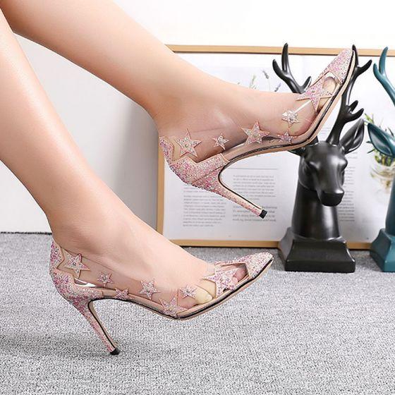 DEBAIJIA Mujer Tacones Altos Lentejuelas 6CM 9CM Zapatos de Tac/ón Brillante Boda Fiesta