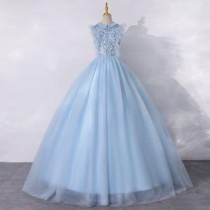 Vintage / Retro Sky Blue Dancing Prom Dresses 2020 A-Line / Princess Scoop Neck Sleeveless Appliques Flower Pearl Floor-Length / Long Ruffle Formal Dresses