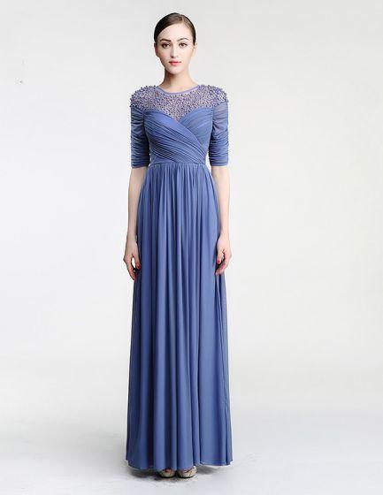 2015 Shoulders 1/2 Sleeves Beading Scoop Neck Floor Length Chiffon Evening Dress