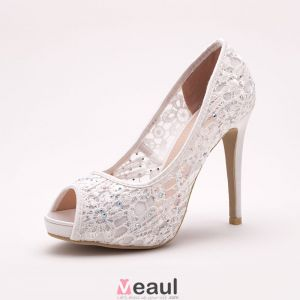 Dentelle Tete Brillance Strass De Poisson Blanc Mariée De Chaussures / Chaussures De Mariage / Chaussures Femme