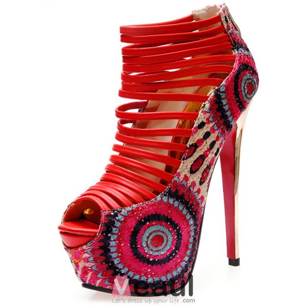 2016 Fashion Peep Toe Stiletto Platform Peacock Super High Heels Sandals