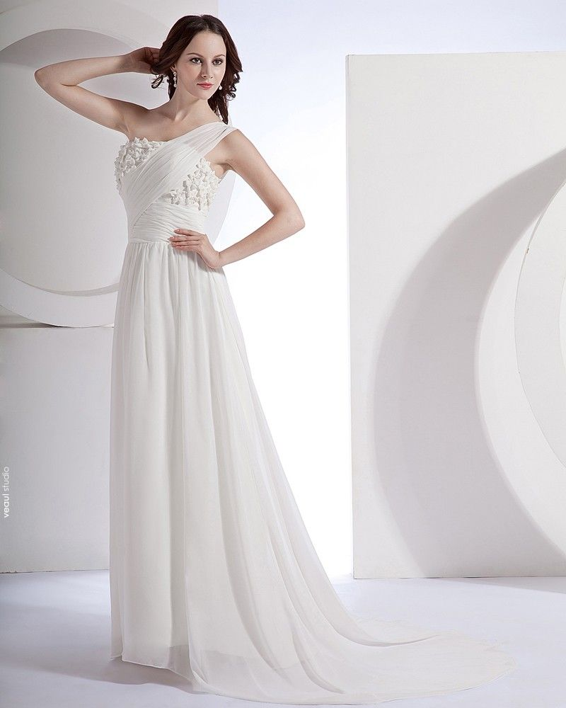 Chiffon Satin One Shoulder Beading Sweep Sheath Bridal Gown Wedding Dress