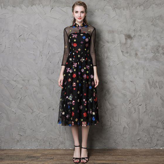 Vintage / Retro Black See-through Evening Dresses  2019 A-Line / Princess High Neck 3/4 Sleeve Colored Cartoon Appliques Lace Tea-length Ruffle Formal Dresses