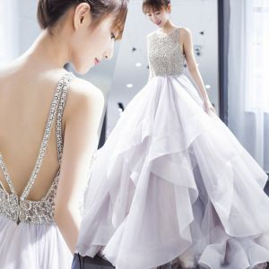 Sexy White Wedding Dresses 2019 Ball Gown Spaghetti Straps Rhinestone Sleeveless Backless Cascading Ruffles Floor-Length / Long