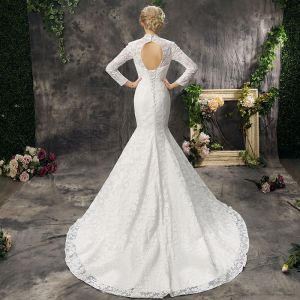 Chinese style Hall Wedding Dresses 2017 Lace Appliques Backless High Neck Long Sleeve Court Train Ivory Trumpet / Mermaid