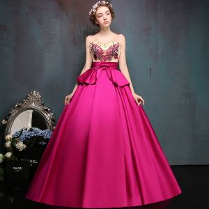 Chic / Beautiful Fuchsia Prom Dresses 2019 A-Line / Princess V-Neck Lace Flower Bow Sequins Sleeveless Backless Floor-Length / Long Formal Dresses
