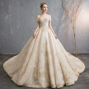 Audrey Hepburn Style Champagne Wedding Dresses 2019 A-Line / Princess Off-The-Shoulder Beading Pearl Lace Flower Short Sleeve Backless Cathedral Train