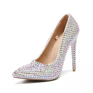 Charming Multi-Colors Wedding Shoes 2019 Rhinestone 11 cm Stiletto Heels Pointed Toe Wedding Pumps