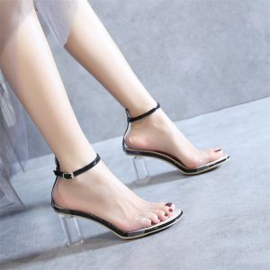 Sexy Transparent Schwarz Cocktail Sandalen Damen 2020 Lackleder Knöchelriemen 8 cm Thick Heels Peeptoes Sandaletten