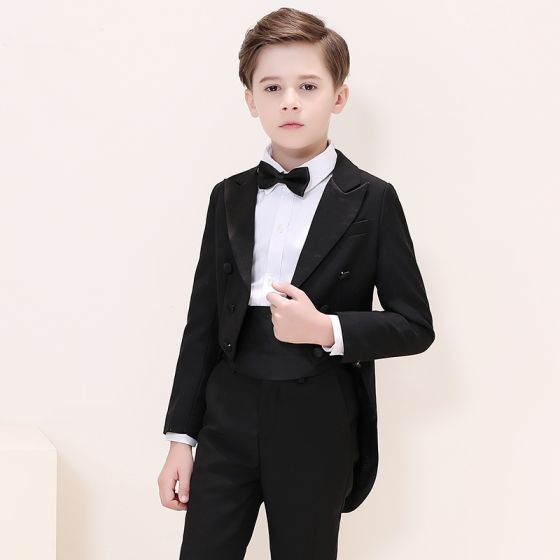 Elegant Black Tailcoat / Tuxedo Boys Wedding Suits 2019