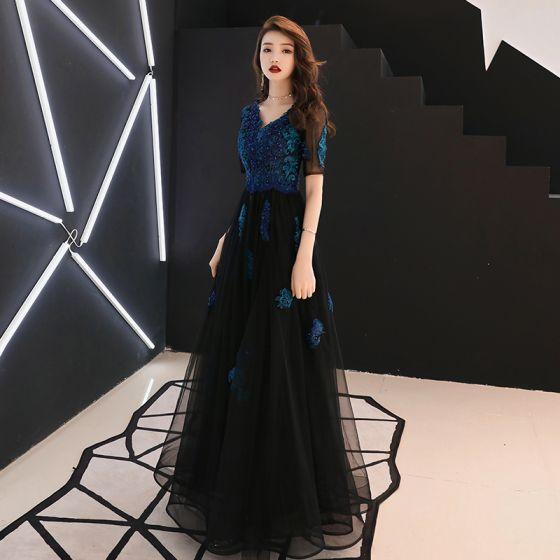 Chic / Beautiful Navy Blue Evening Dresses  2019 A-Line / Princess V-Neck Lace Flower Beading Crystal Short Sleeve Backless Floor-Length / Long Formal Dresses