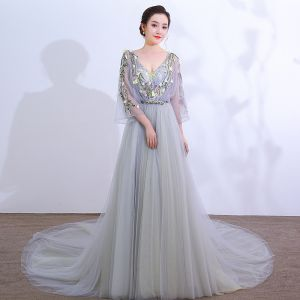 Chic / Beautiful Grey Cathedral Train Prom Dresses 2018 A-Line / Princess V-Neck Tulle Lace-up Appliques Backless Beading Evening Party Formal Dresses