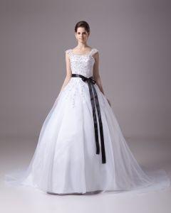 Kvadrat Gulv Lengde Beading Applikasjon Satin Garn Ball Kjole Brudekjoler Bryllupskjoler