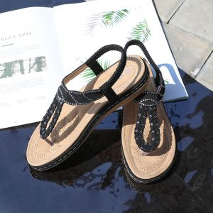 Chic / Beautiful Black Beach Flat Slipper & Flip flops 2020 Rhinestone Open / Peep Toe Womens Shoes