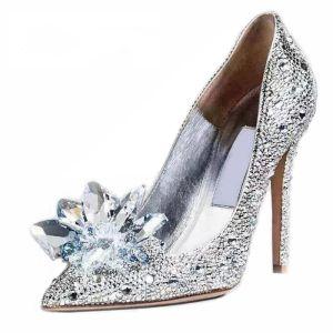 Prachtige Sprankelende Cinderella Bruidsschoenen Stiletto Pumps Met Kristallen