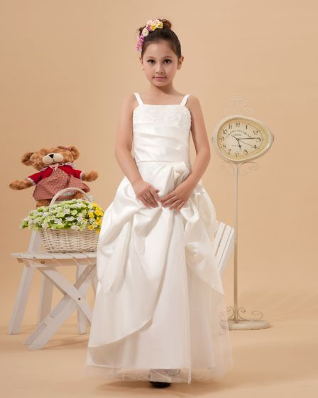 Cute A-Line Spaghetti Straps Ankle Length Satin Flower Girl Dresses