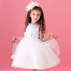 Weiß-blumenmädchenkleid Prinzessin Kleid Kommunionkleider
