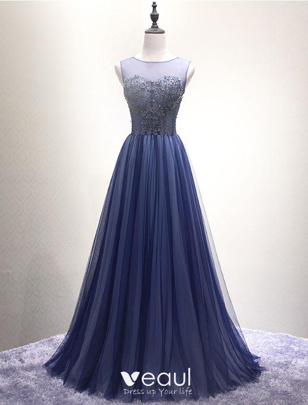 Sparkly Prom Dresses 2016 Corset Design Beading Sequins Navy Blue