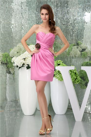 Charmante Schede Sweetheart Strapless Bloem Geplooide Roze Cocktailjurk
