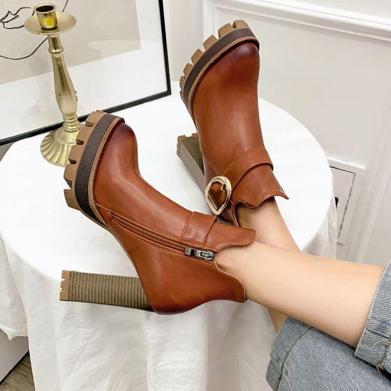 Romersk Enkel Brun Streetwear Spænde Støvler Dame 2021 Vandtætte Støvletter / Ankelstøvler 11 cm Tykke Hæle Runde Tå Støvler