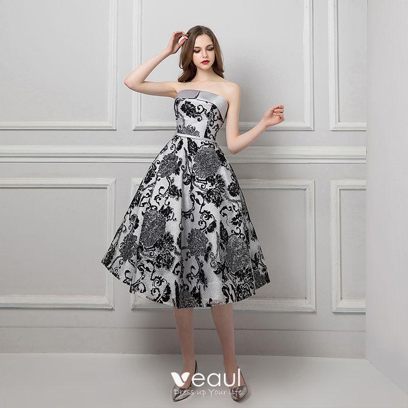 Chic Beautiful Silver Black Jacquard Prom Dresses 2019 A Line Princess Strapless Sleeveless Appliques Lace Sash Tea Length Ruffle Backless Formal